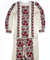 Яркий вышитый костюм из льна для женщины