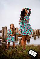 Детское платье с длинным рукавом отрезное по талии и расклешенной юбкой жаккард цветочный принт 2- 109 АМ Н 69