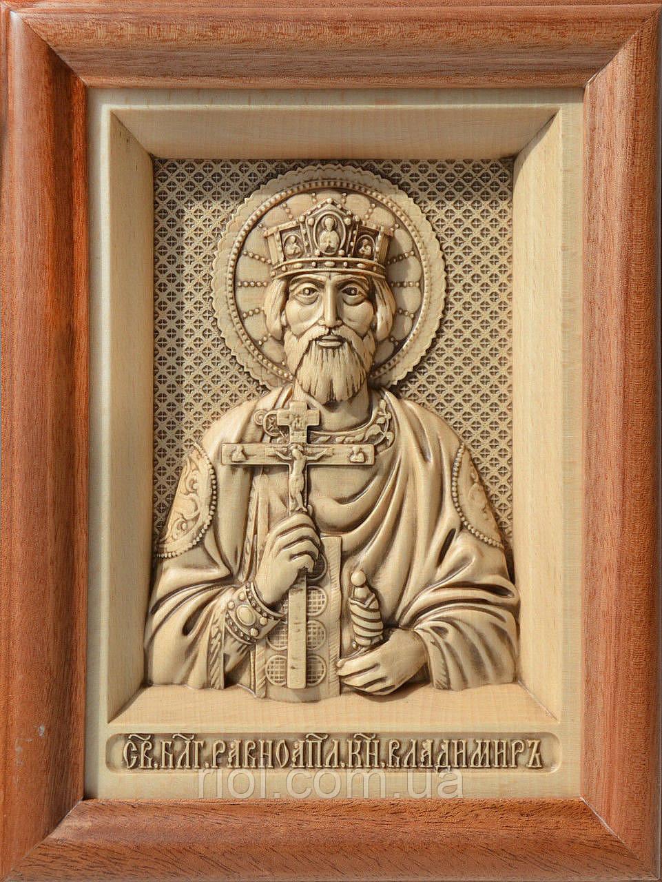 Икона из дерева резная Святого Равноапостольного князя Владимира