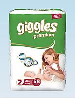 Подгузники детские Giggles Premium Eco Mini (2) 3-6 кг (58шт.)