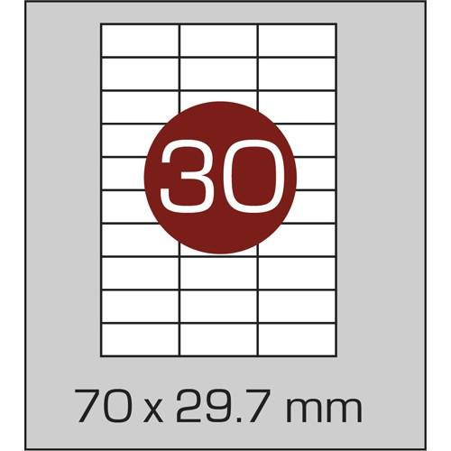 Этикетки самоклеящиеся (70х29,7 мм) - 30 шт. на листе А4, 100 листов в картонной упаковке