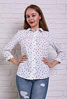 Праздничная белая блуза с воротничком из креп-шелка на пуговицах