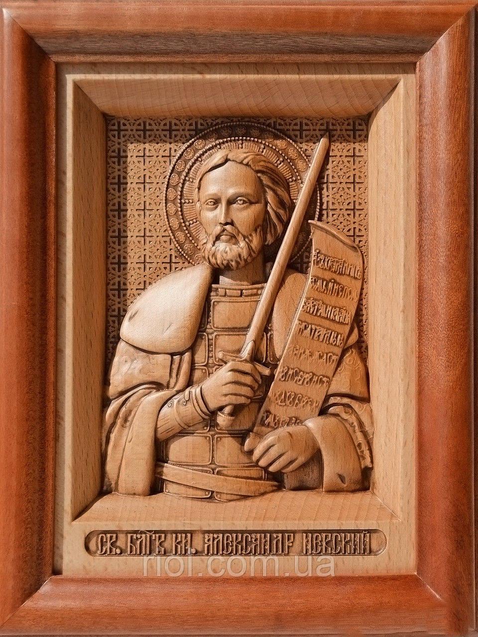 Икона из дерева резная Святого Александра Невского