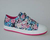 Кеды для девочек Шалунишка арт.200-009 цветы (Размеры: 35-37)