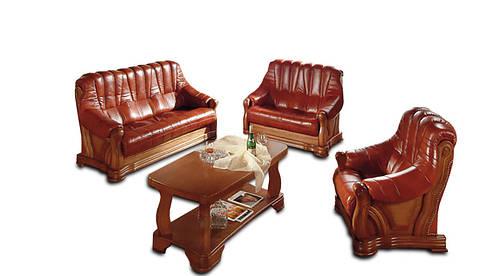 """Новый кожаный диван с креслом """"FRYDERYK I, II"""" (3р+1)"""