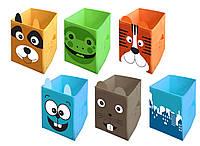 Коробка для игрушек 30х30х45 см (заяц, собачка, тигр, лягушка, мышка, город)