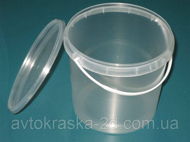 Ведро пластиковое  прозрачное с крышкой (5 л)