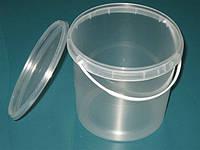 Ведро пластиковое  прозрачное с крышкой (1 л)