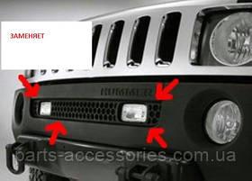 Хромова сітка в передній бампер Hummer H3 2006-10 нова