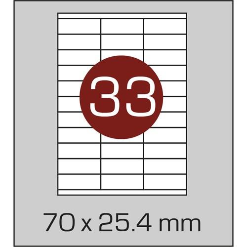 Этикетки самоклеящиеся (70х25,4 мм) - 33 шт. на листе А4, 100 листов в картонной упаковке