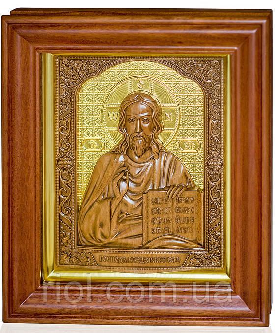Икона из дерева Господь Вседержитель с сусальным золотом