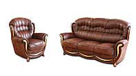 """Кожаный диван в комплекте с креслом """"Джове"""" (3р+1)"""
