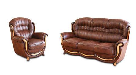 Шкіряний комплект меблів Джозеф, м'які меблі, меблі в шкірі, шкіряні меблі, комплект меблів, фото 2