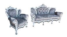"""Шкіряний двомісний диван """"Елія (з додатковою різьбленням)"""" в стилі бароко, фото 3"""