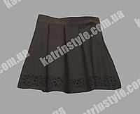 Школьная юбочка для девочек с перфорацией чёрного цвета