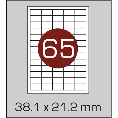 Этикетки самоклеящиеся А4 (38,1х21,2 мм) - 65 шт. на листе А4, 100 листов в картонной упаковке