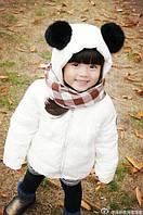 Детская куртка с бубонами из натурально меха кролика