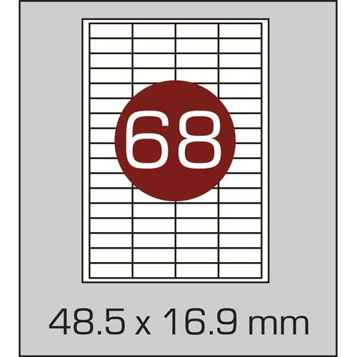 Этикетки самоклеящиеся (48,5х16,9 мм) - 68 шт. на листе А4, 100 листов в картонной упаковке