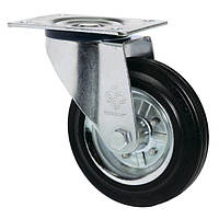 Колеса поворотные из стандартной черной резины Norma с крепеж.панелью,с ролик.подш.Ø75-280мм