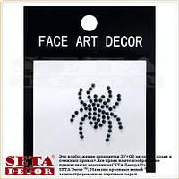 """Наклейка на лицо и тело """"Паук"""" чёрные стразы face (body) art decor"""
