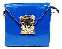 Сумка женская квадратная синяя лаковая