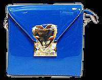 Сумка женская квадратная синяя лаковая, фото 1