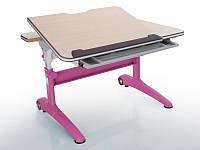 Детская парта растишка стол трансформер Mealux Ferrari 2 BD-155 MG (P) (столешница клен/ножки розовые с белым)
