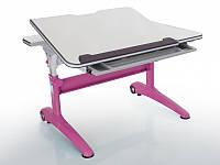 Детская парта растишка стол трансформер Mealux Ferrari 2 BD-155 W (P) (столешница белая/ножки белые с розовым)