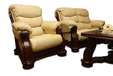 Кожаный раскладной трехместный диван CEZAR V (212см), фото 3