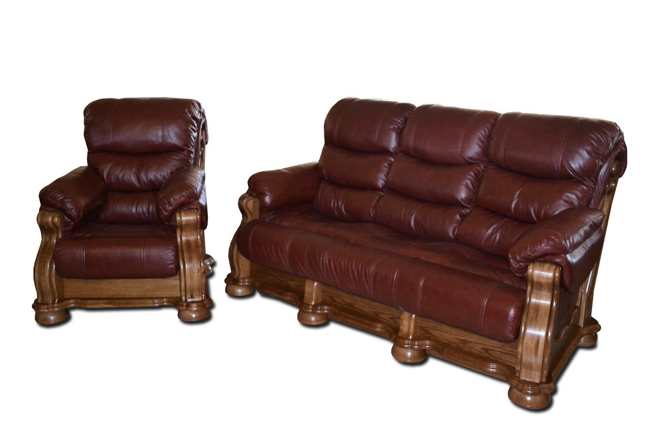 Шкіряний розкладний трьохмісний диван CEZAR V (212см)