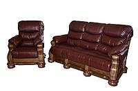 Кожаный раскладной трехместный диван CEZAR V (212см)