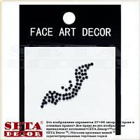 """Наклейка на лицо и тело """"Летучая мышь"""" чёрные стразы face (body) art decor"""