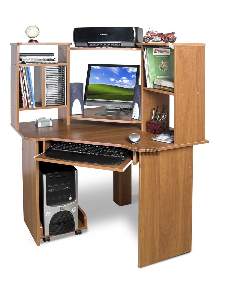 Угловой компьютерный стол с полками, СК-91, 90*90, яблоня-локарно