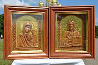 Икона деревянная резная Венчальная Пара (Господь Вседержитель и Божией Матери) с сусальным золотом