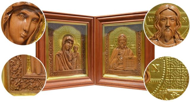 икона резная деревянная венчальная пара