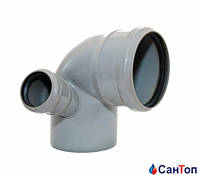 Колено с правым отводом для внутренней канализации Valsir 110/87°/50/67°
