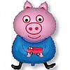 Шарик Фольгированный ГЕЛИЙ Большой Свинка Пеппа  Джорж на День рождения в стиле Свинка Пеппа