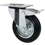 Колеса поворотные с тормозом из стандартной черной резины Norma с крепеж.панелью,с ролик.подш.Ø75-280мм