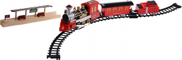 Железная дорога Мой 1-й поезд, дым, свет, звук