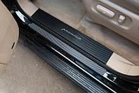 Накладки на внутренние пороги Chevrolet Aveo III 4D/5D 2011- карбон