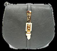 Сумка-клатч женская серая полукруглая с ремешком