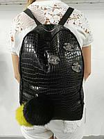 Рюкзак из экокожи на молнии с помпонами P3359