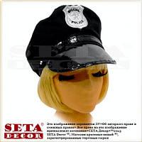 Полицейская фуражка карнавальная черная