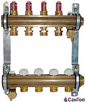 Коллектор для теплого пола HERZ с расходомерами и термостатическими кран- буксами ,4 выхода