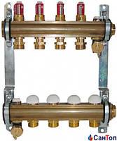 Коллектор для теплого пола HERZ с расходомерами и термостатическими кран- буксами ,14 выходов
