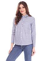 Коттоновая синяя рубашка в полоску с украшением на воротничке