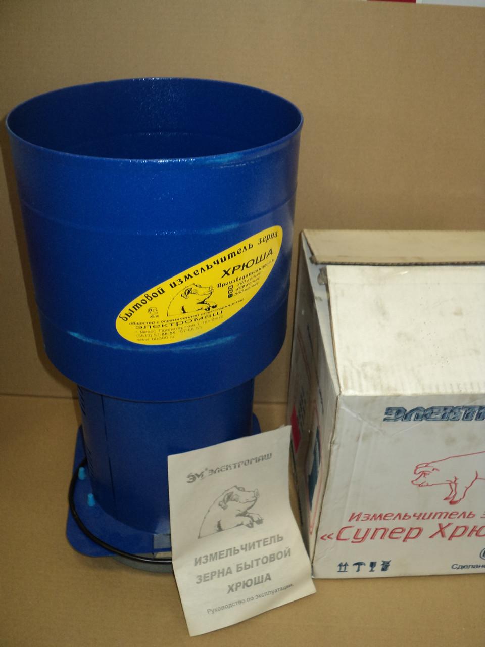 Зернодробарка Хрюша продуктивністю 350 кг/годину пр-во р. Міасс (кругла під відро)