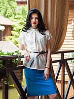 Нарядная белая блуза с золотистой пуговицей на спине, размер: 44,46,48,50,52