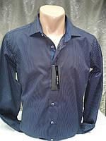 Рубашка Bazzolo мужская т-синяя в белую чёрточку M,XL