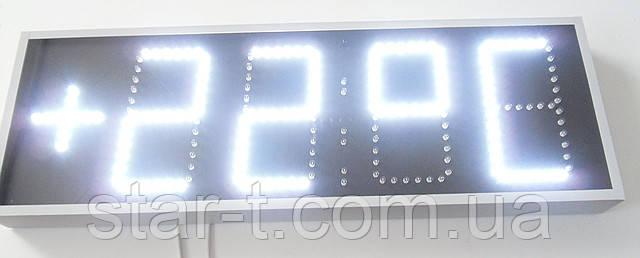 Годинник-термометр світлодіодні яскраві білі. Цифра 150 мм в один ряд.
